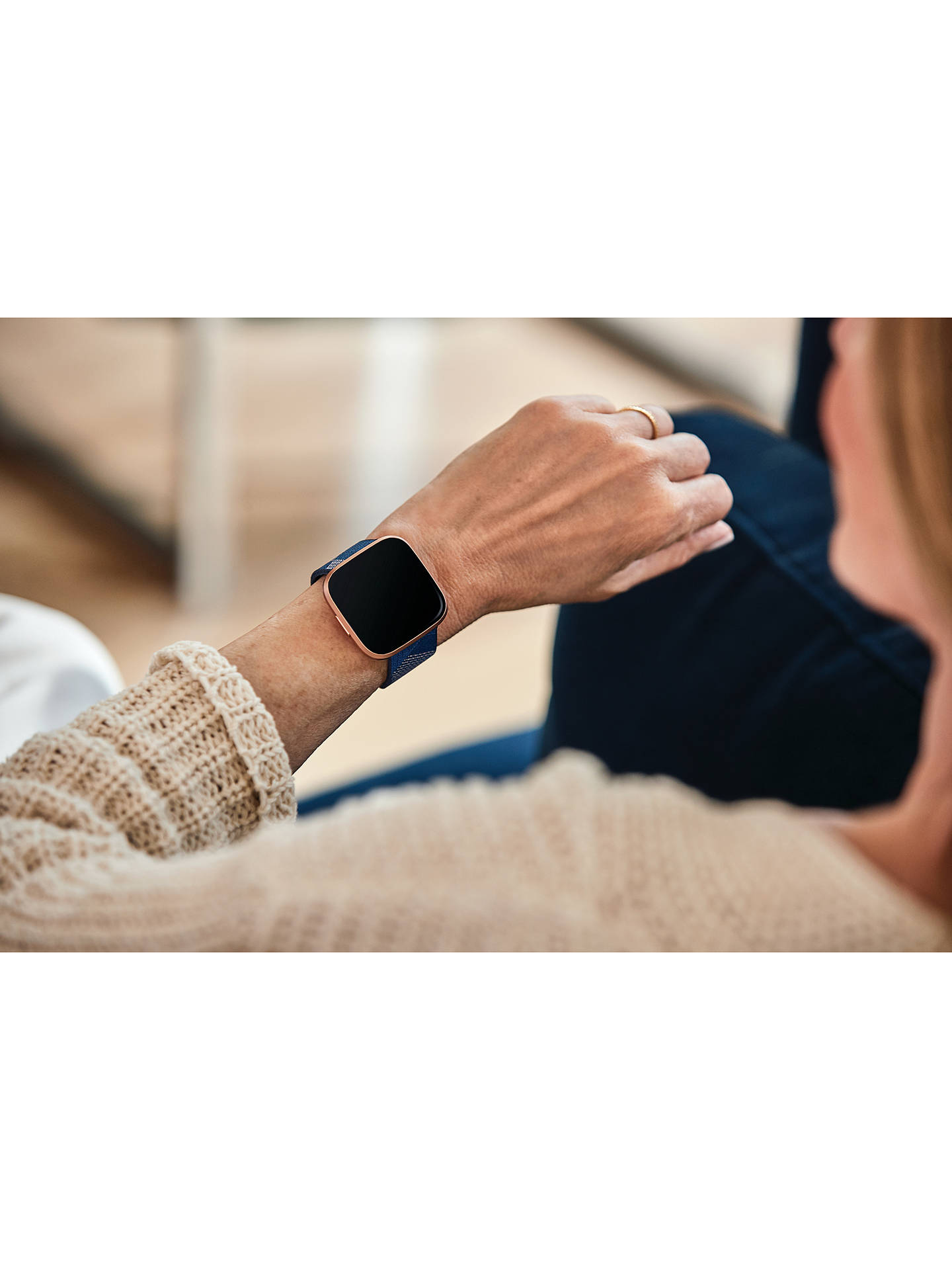Buy Fitbit Versa 2 Smart Fitness Watch, Woven, Copper Rose/Navy Online at johnlewis.com