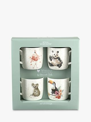 Wrendale Designs Zoo Animal Mugs, Set of 4, 310ml