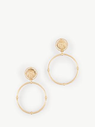 hush Regina Tiger Hoop Drop Earrings, Gold