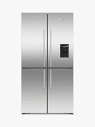 Fisher & Paykel RF605QDUVX1 4-Door American-Style Freestanding Fridge Freezer with Water and Ice Dispenser, A+ Energy Rating, Stainless Steel