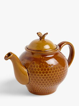 John Lewis & Partners Honeycomb Bee Teapot, 950ml, Brown