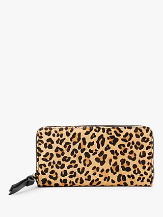 hush Forli Leopard Print Zip Around Leather Purse, Multi