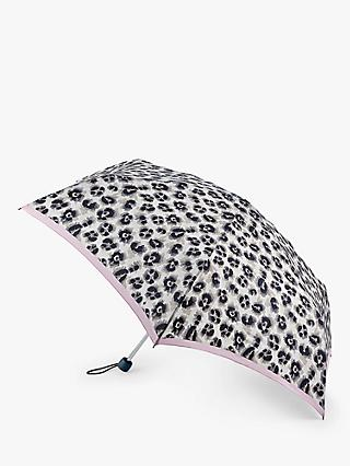 Fulton Leopard Print Stripe Border Extra Slim Umbrella, Grey/Pink