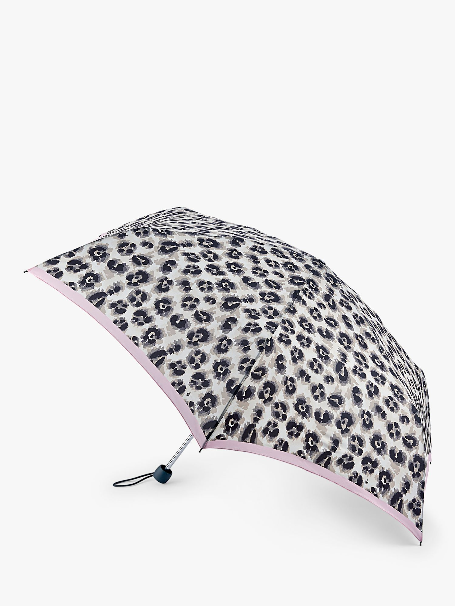 Fulton Fulton Leopard Print Stripe Border Extra Slim Umbrella, Grey/Pink