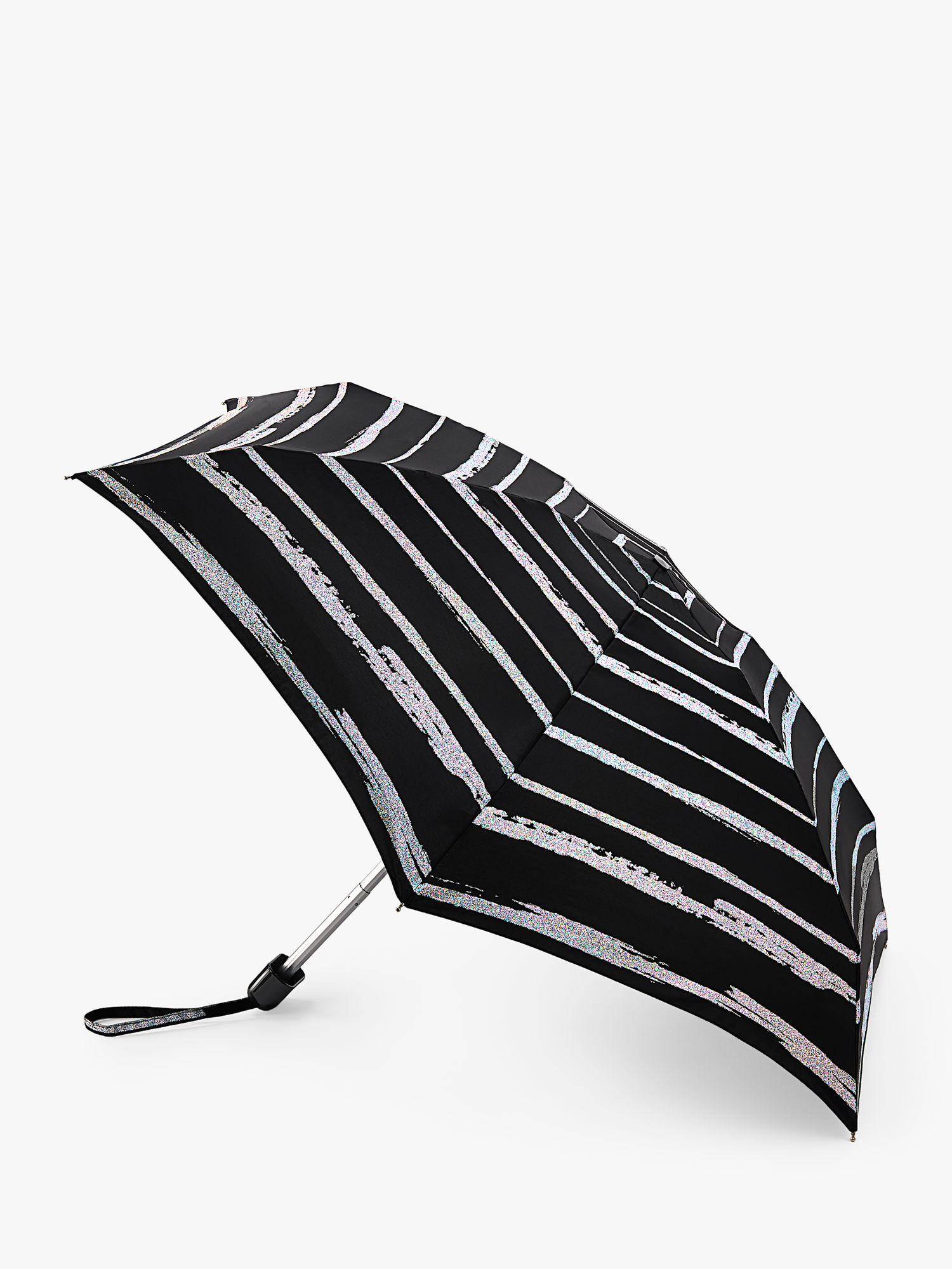 Fulton Fulton Space Stripe Telescopic Umbrella, Black/White