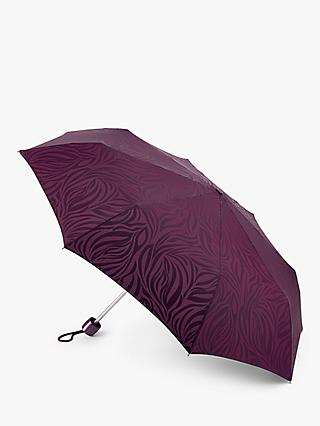 Fulton Minilite Zebra Print Folding Umbrella, Purple