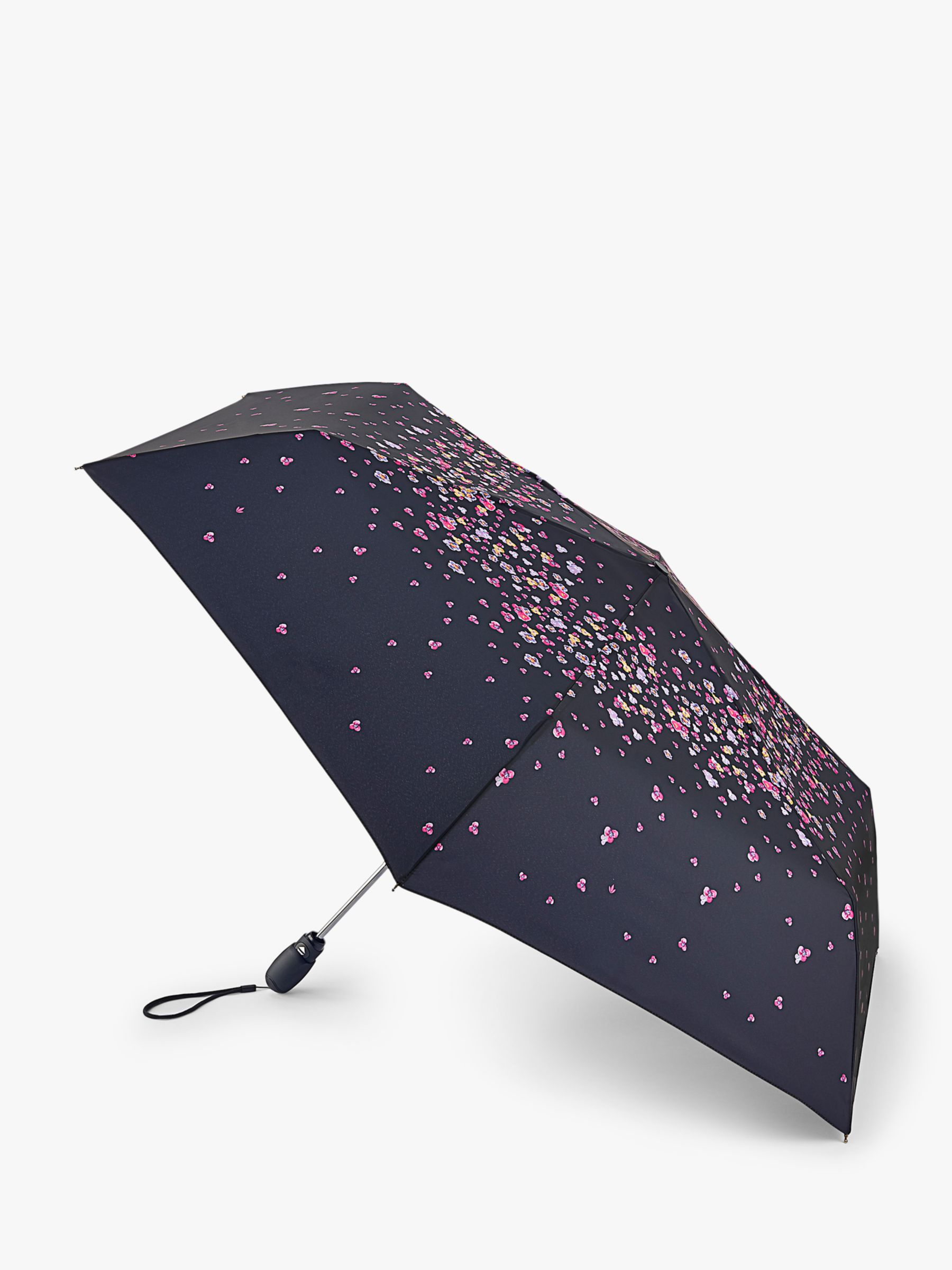 Fulton Fulton Pansy Print Slim Umbrella, Black/Multi