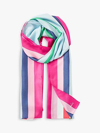 Joules Hampton Silk Stripe Scarf, Multi