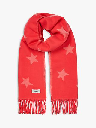 Joules Mardale Reversible Star Fringe Scarf, Pink