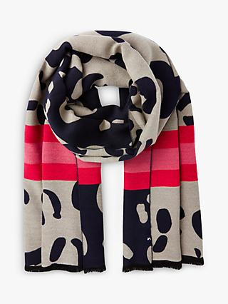 Joules Jacquelyn Leopard Print Scarf, Navy/Yellow