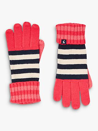 Joules Chillaway Stripe Gloves, Red/Multi