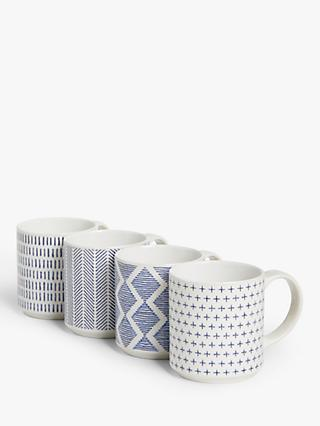 John Lewis & Partners Stackable Mugs & Stand, Set of 4, 350ml, Navy/White