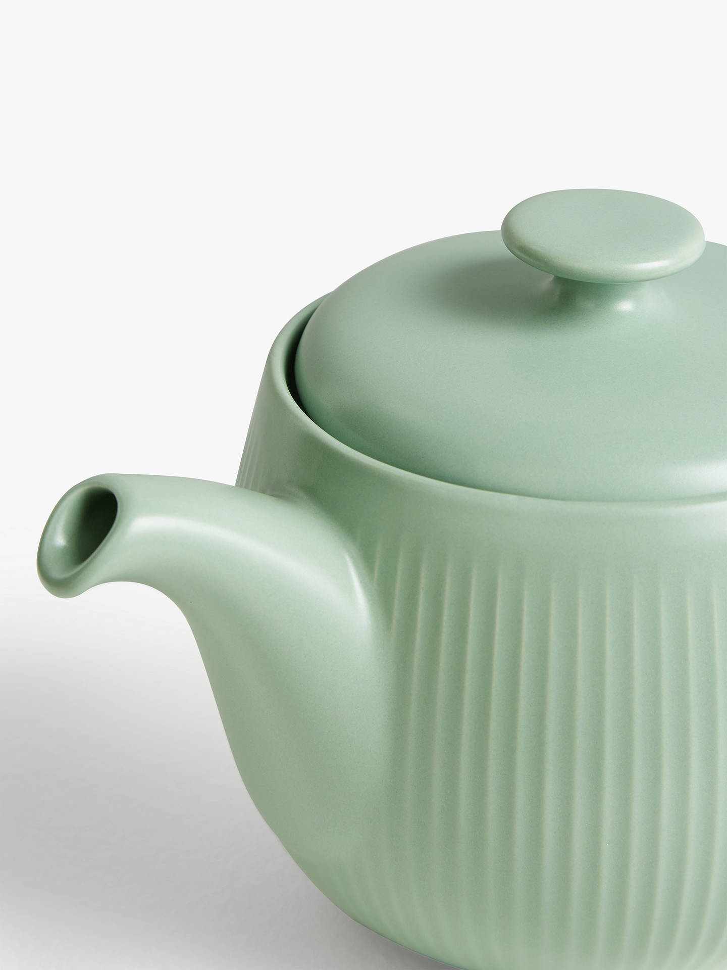 Buy John Lewis & Partners Fluted Stoneware Teapot, 930ml, Dusty Green Online at johnlewis.com