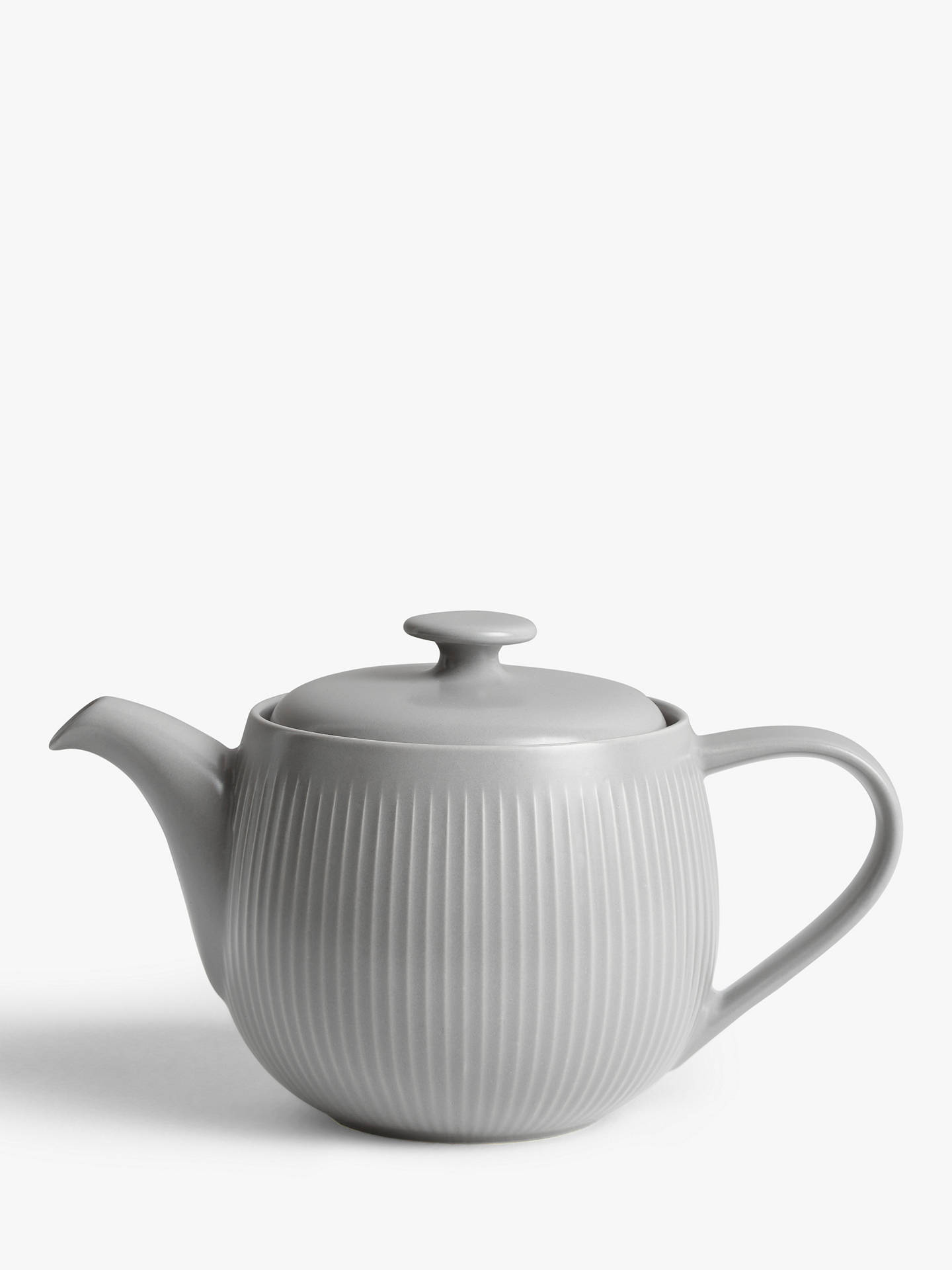 Buy John Lewis & Partners Fluted Stoneware Teapot, 930ml, Cool Grey Online at johnlewis.com