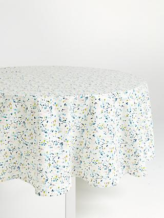 John Lewis & Partners Wipe Clean PVC Scattered Spot Print Round Tablecloth, Multi, Dia.180cm
