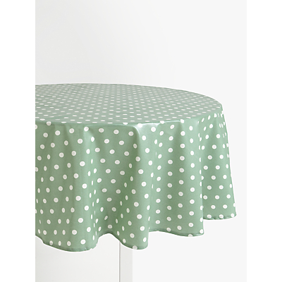 John Lewis & Partners Wipe Clean PVC Spot Print Round Tablecloth, Dusty Green, Dia.180cm