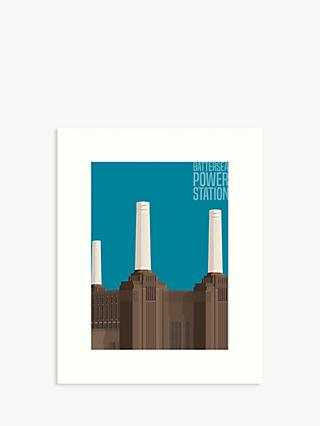Battersea Power Station London Unframed Print, 50 x 40cm, Blue/Brown