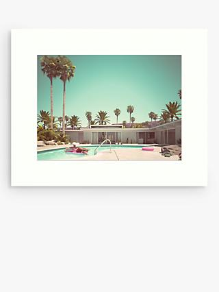 Pool Scene 3 Unframed Print, 50 x 40cm, Blue/Green