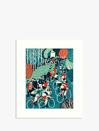 Le Tour 1 - Cycling Unframed Print, 50 x 40cm, Blue/Red
