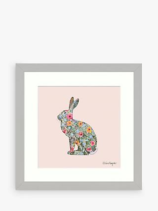 Helen Magee - Hairy Fruit Hare Framed Print & Mount, 33.5 x 33.5cm, Pink/Multi