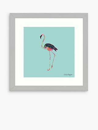 Helen Magee - Hairy Fruit Flamingo Framed Print & Mount, 33.5 x 33.5cm, Blue/Multi