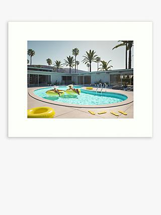 Pool Scene 2 Unframed Print, 50 x 40cm, Blue/Green