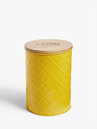 LEON Tin Storage Jar with Acacia Wood Lid, 1.5L, Yellow