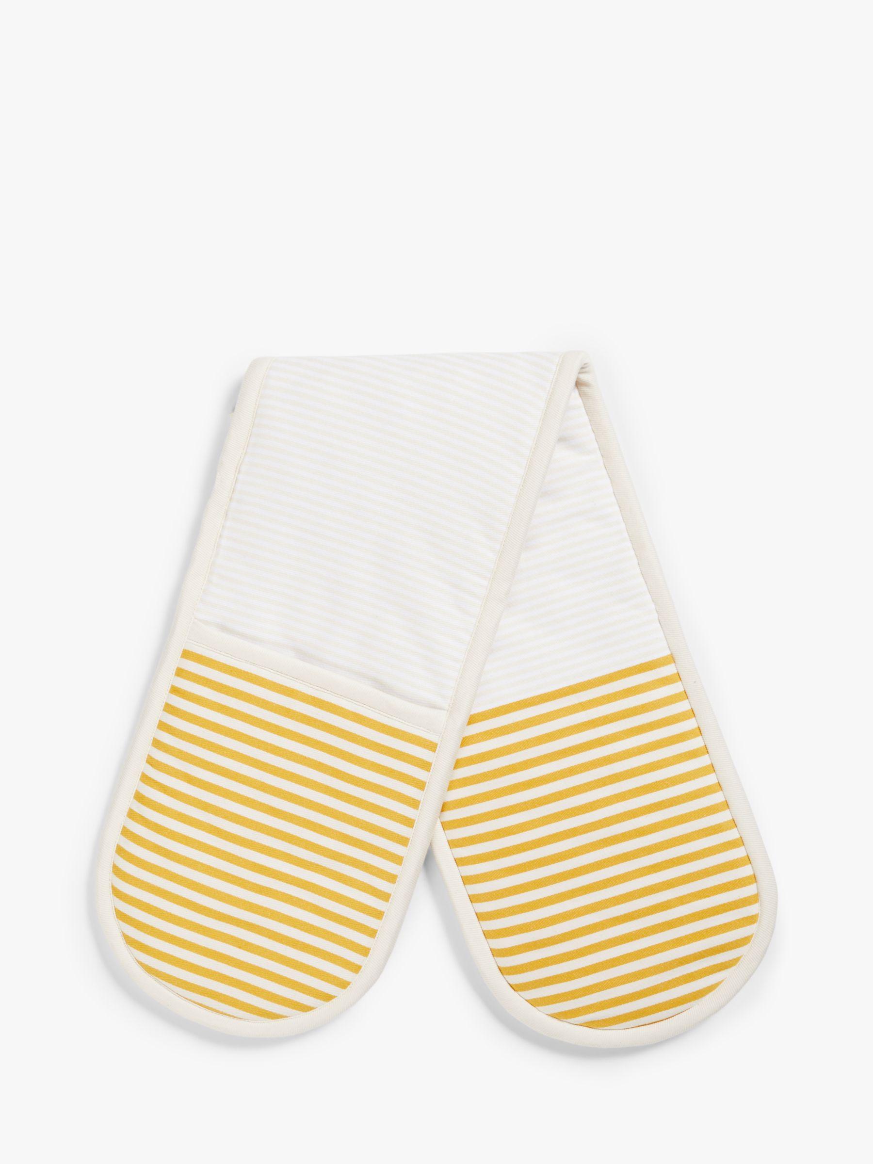 John Lewis & Partners Striped Double Oven Glove, Ochre
