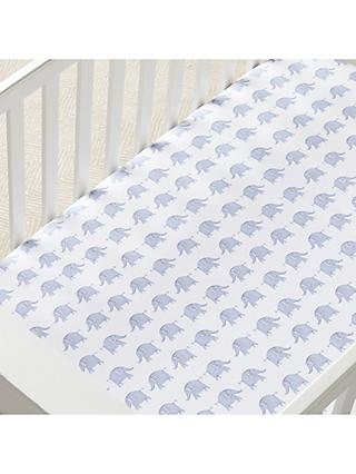 Pottery Barn Kids Taylor Elephant Fitted Crib Sheet, Blue, 70 x 132cm