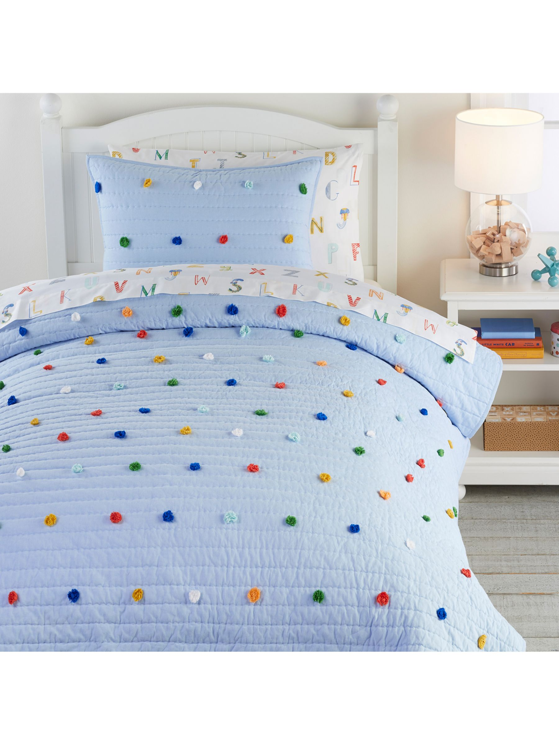 Pottery Barn Kids Dylan Pom Pom Quilted Bedspread Blue Multi At John Lewis Partners