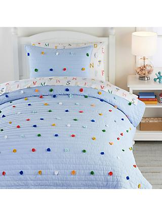Pottery Barn Kids Dylan Pom Pom Quilted Bedspread, Blue/Multi