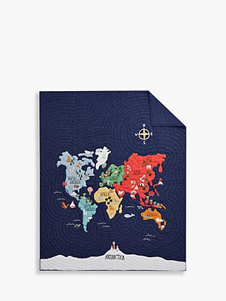 Pottery Barn Kids World Map Quilted Bedspread, 201 x 135cm