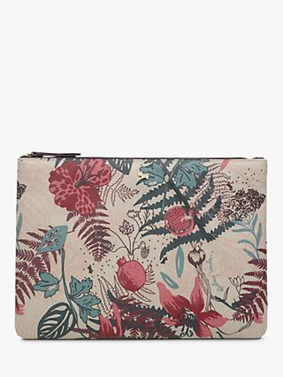 Radley Botanical Print Medium Pouch Purse, Dove Grey/Multi