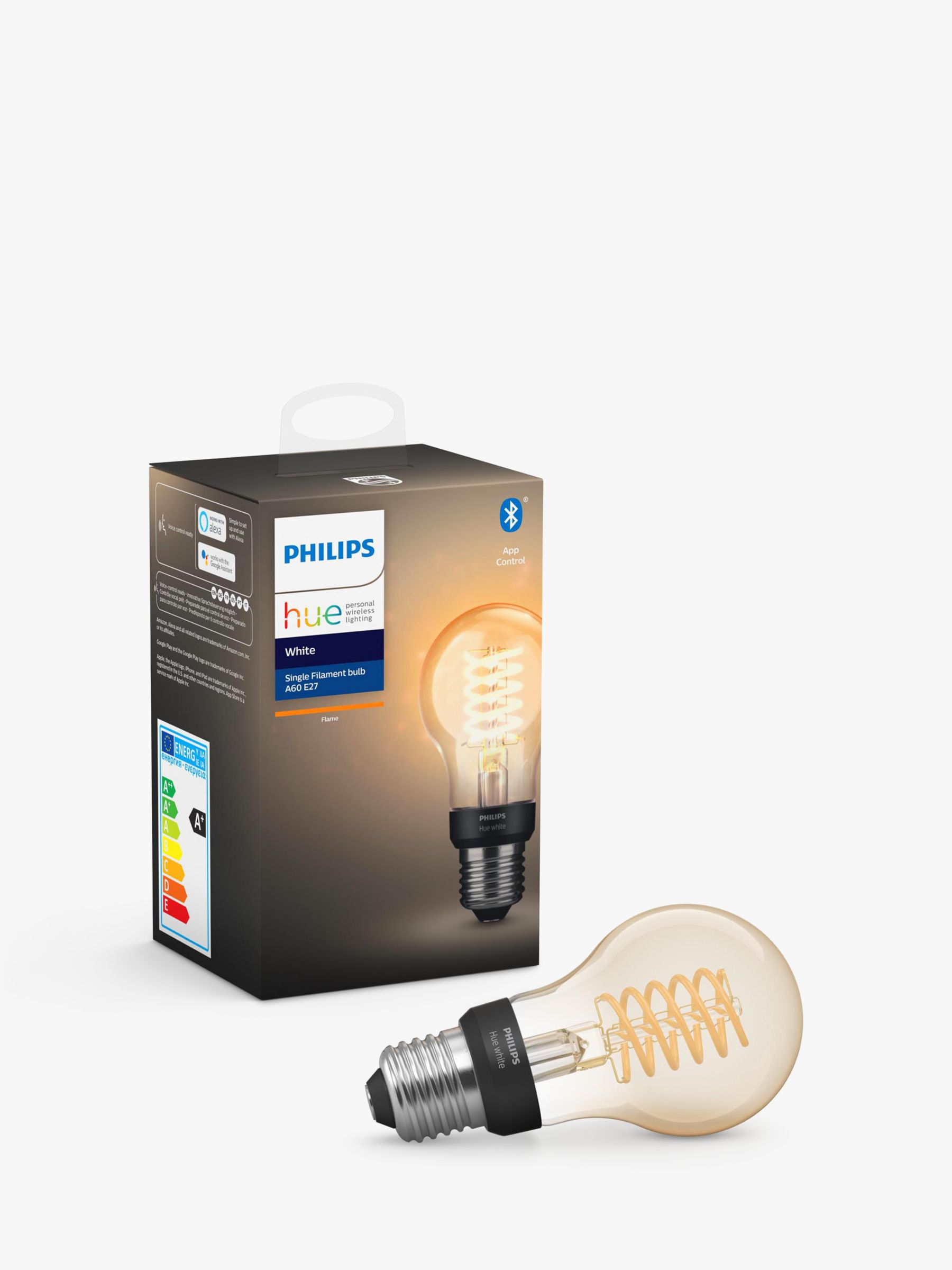 Philips Philips Hue White Ambiance Wireless Lighting 7W ES LED Dimmable Classic Filament Bulb, A60 E27