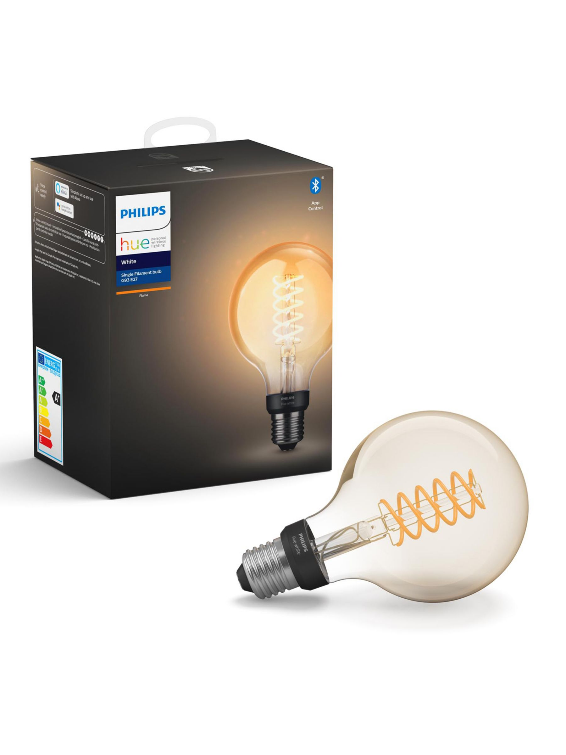 Philips Philips Hue White Ambiance Wireless Lighting 7W ES LED Dimmable Globe Filament Bulb, G93 E27