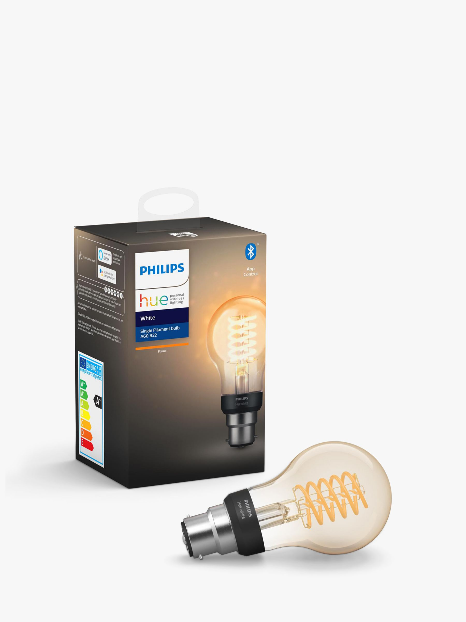 Philips Philips Hue White Ambiance Wireless Lighting 7W BC LED Dimmable Classic Filament Bulb, A60 B22