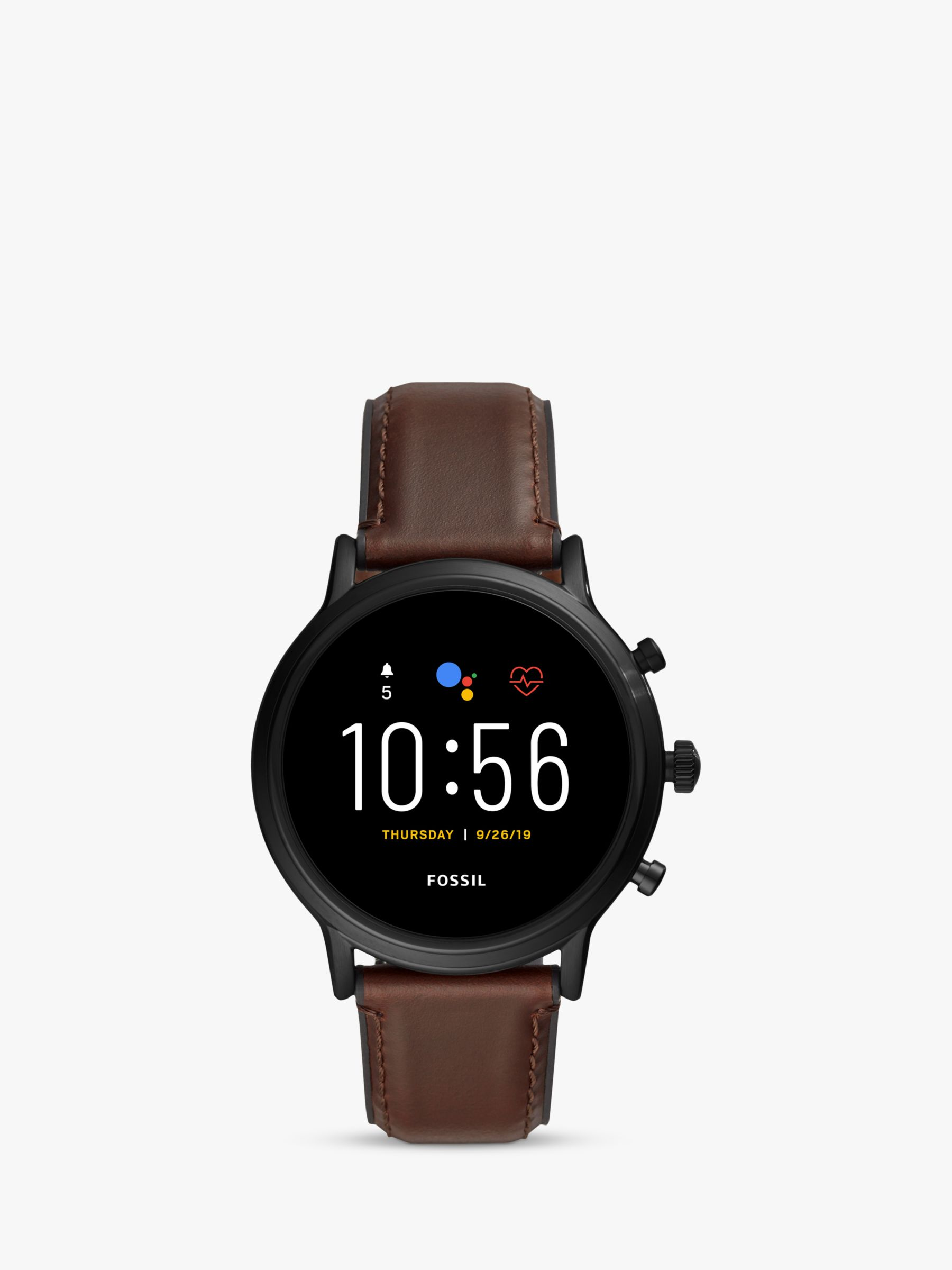 Fossil Fossil Q FTW4026 Men's Leather Strap Touch Screen Smartwatch, Brown/Black