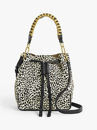 AND/OR Small Leather Drawstring Cross Body Bag, Mono