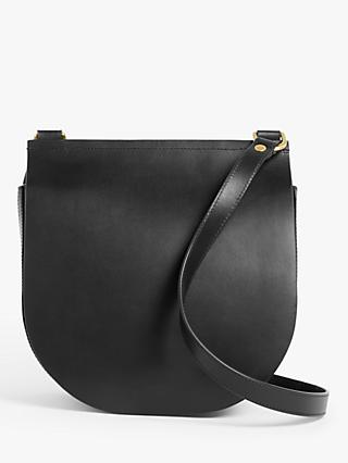 John Lewis & Partners Leather Cross Body Saddle Bag