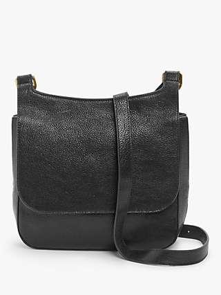 John Lewis & Partners Leather Messenger Cross Body Bag, Black