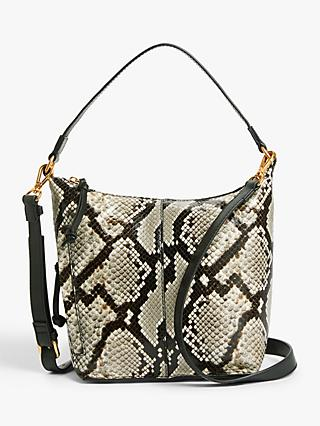 AND/OR Compact Zip Top Leather Hobo Bag