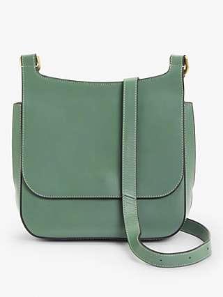 John Lewis & Partners Leather Messenger Cross Body Bag, Green