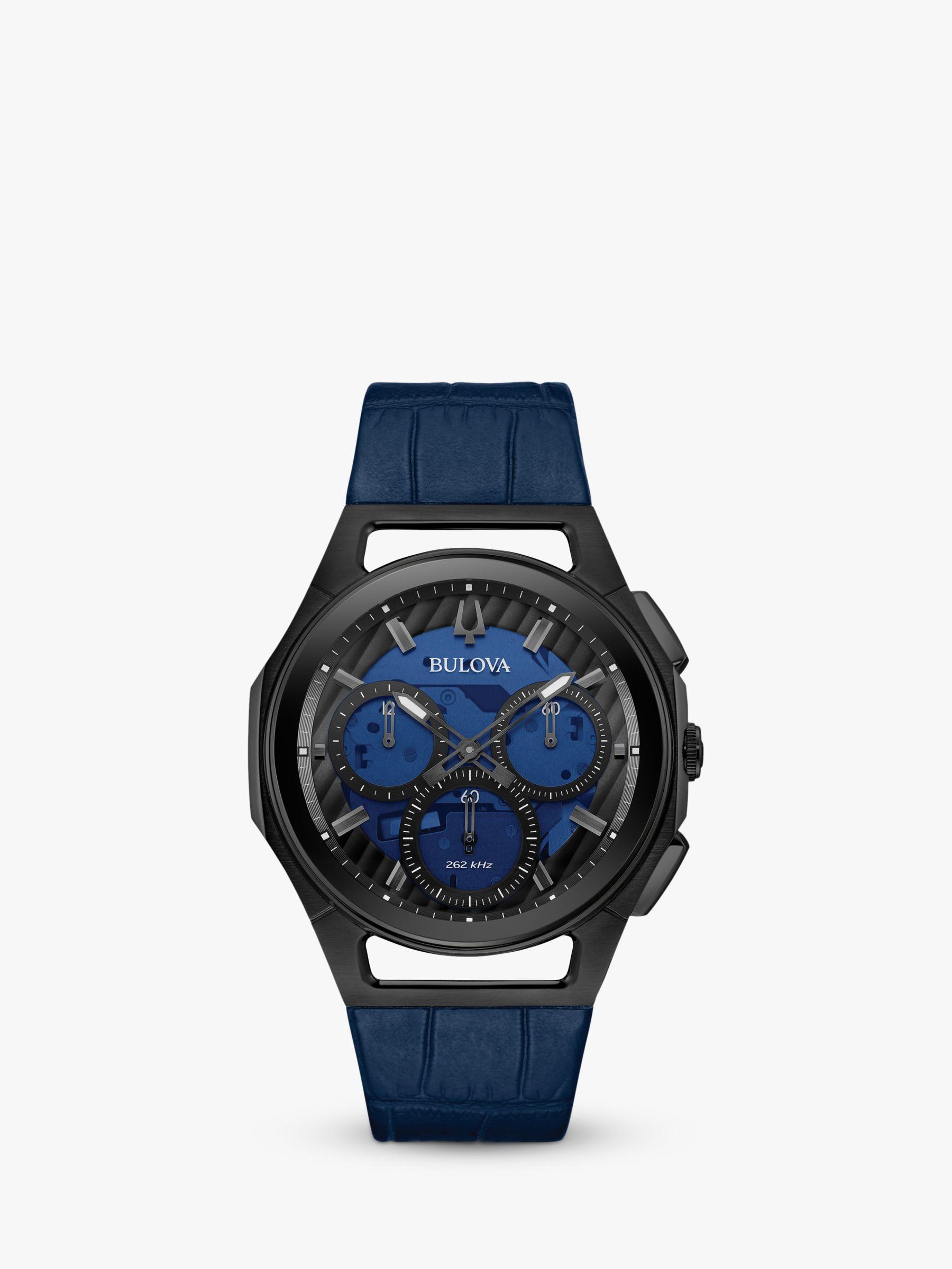 Bulova Bulova 98A232 Men's Curv Chronograph Leather Strap Watch, Blue