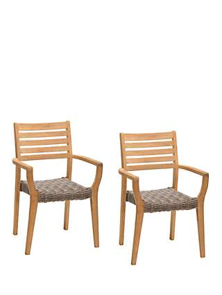 John Lewis & Partners Longstock Woven Stacking Garden Dining Armchairs, Set of 2, FSC-Certified (Teak Wood), Rattan/Natural