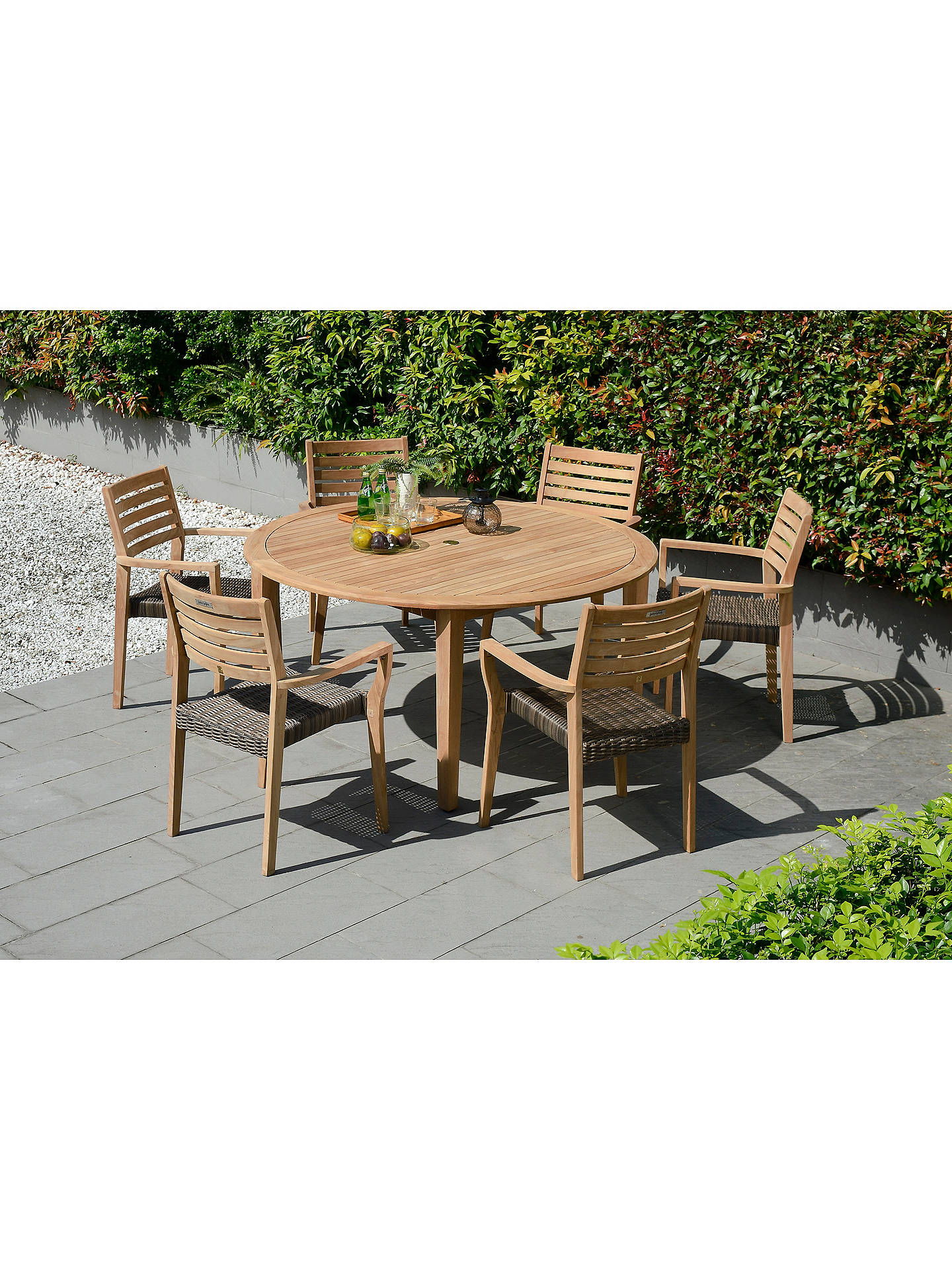 John Lewis & Partners Longstock Woven Stacking Garden Dining Armchairs, Set  of 8, FSC-Certified (Teak Wood), Rattan/Natural