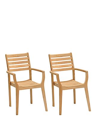 John Lewis & Partners Longstock Stacking Garden Dining Armchairs, Set of 2, FSC-Certified (Teak Wood), Natural