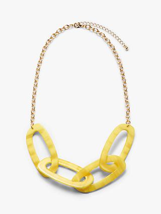 John Lewis & Partners Oval Resin Link Statement Necklace, Yellow