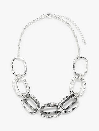 John Lewis & Partners Hammered Metal and Resin Link Necklace, Silver/Grey