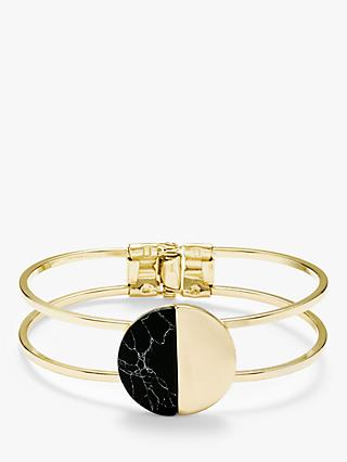 John Lewis & Partners Hinged Circle Howlite Open Bangle, Gold/Black