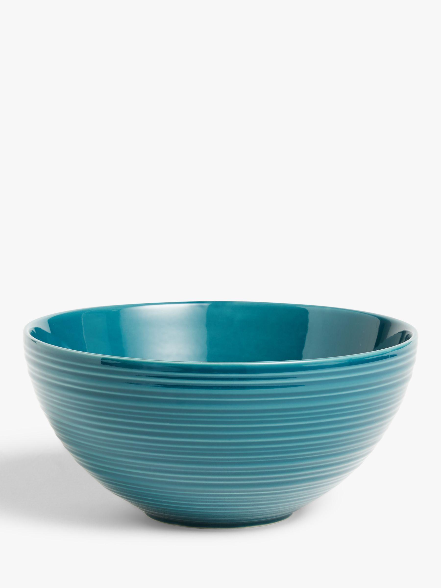 John Lewis & Partners Ribbed Ceramic Mixing Bowl, Large, Teal